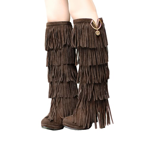 New Fashion Women Knee High Boots Fringe Tassel High Heel Platform Round Toe Slouch Boots Winter Shoes