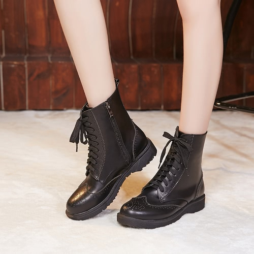 Vintage Women Ankle Boots PU Leather Round Toe Low Heel Lace-Up Side Zip Martin Riding Boots Brown/Black