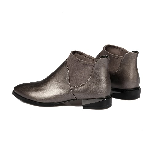 New Women Ankle Boots PU Leather Pointed Toe Square Heel Elastic Cuffs Casual Shoes Black/Coffee