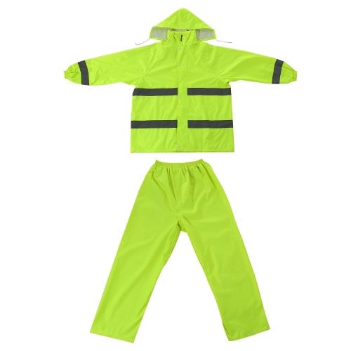 Raincoat Suit com listras reflexivas para homens e mulheres Tamanho XXL