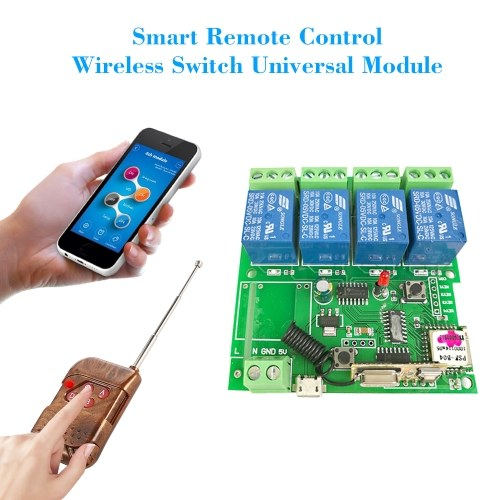 eWeLink 433Mhz Smart Remote Control Wireless Switch Universal Module 4ch DC 5V Wifi Switch Timer Phone APP Remote Control Support Alexa Google Home Voice Control With RF433MHz Remote Controller for Smart Home