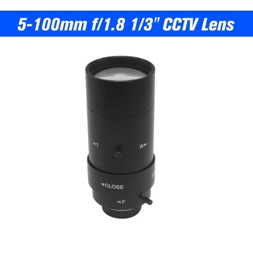 """5-100 мм CS F1.8 Объектив 1/3 """"Ручная диафрагма и фокусное расстояние Варифокальный объектив CS-Mount для камеры видеонаблюдения"""