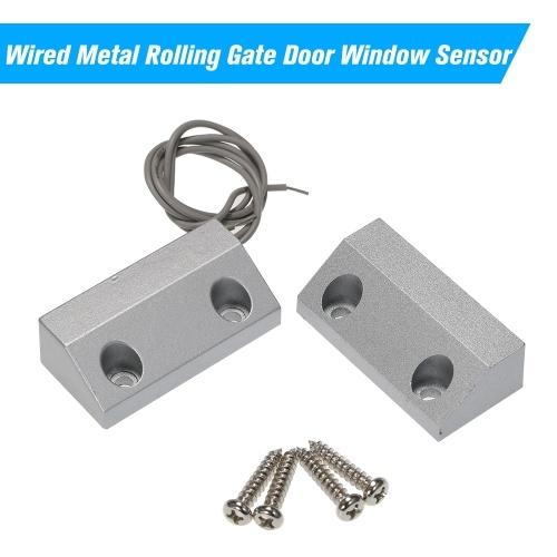 Com Fio De Rolamento De Metal Portão Da Porta Janela Sensor Magnético Contatos Alarme Reed Switch Detector para Sistema de Controle de Acesso de Alarme