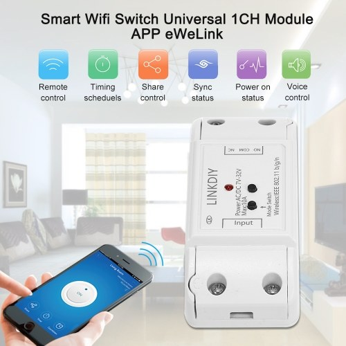 """eWeLink Smart Wifi Switch Universal Module 1CH DC/AC7-32V Wireless Switch Timer Phone APP Remote Control Compatible with """"Amazon"""" Alexa Google Home Voice Control for Smart Home"""