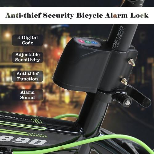 Anti-thief Security Bike Bicycle Motorcycle Alarm Lock Vibrate Sensor Code Unlock 105db+ Alert Sound