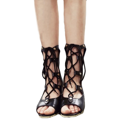 New Fashion Women Wedge Sandals Lace Up Open Toe Strappy Gladiator Pointed Shoes Pumps Booties