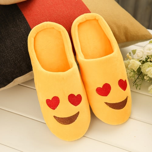 Fashion Embroidery Cute Expression Women Men Winter Warm Slippers House Indoor Floor Loafer Soft Quiet Non-slip