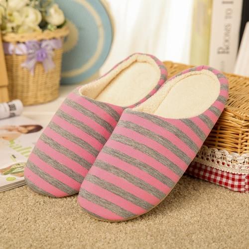 Nuevos hombres y mujeres de rayas suave inferior pantuflas de algodón Inicio interior de madera piso silencioso antideslizante zapatillas