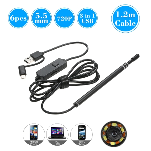 3 in 1 USB Type-C Endoscope 6 LED 5.5MM Lens Inspection Endoscope