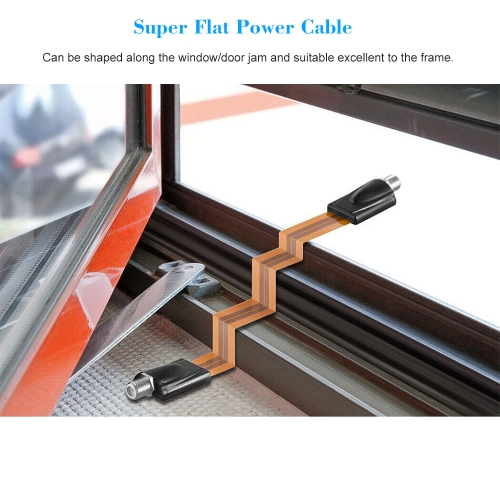 Extreme Slim Flat Power Cable Female F Connector Fits Under Doors Windows Without Drilling 26cm Long + F Male Camera Power Input/Output Adapter Cable Extension Line
