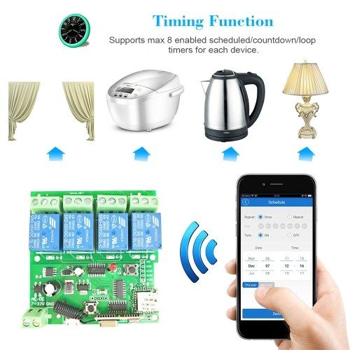 eWeLink 433Mhz Smart Remote Control Wireless Switch Universal Module 4ch DC 5V 12V 32V Wifi Switch Timer Phone APP Remote Control Support Alexa Google Home Voice Control With RF433MHz Remote Controller for Smart Home