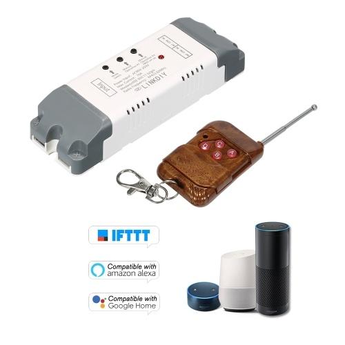 eWeLink 433MhzスマートWifiスイッチユニバーサルワイヤレスリモートコントロールスイッチモジュール2CH DC / AC7-32Vタイマー電話APPリモートコントロール「Amazon」Alexaに対応Googleホームボイスコントロール4キー付きRF433MHzリモートコントローラーfor Smart Home