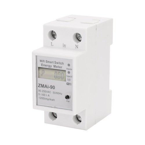 Single-Phase Din Rail Wifi Intelligent Energy Meter Power Consumption Kwh Meter Wattmeter Support Smartlife/Tuya App Control