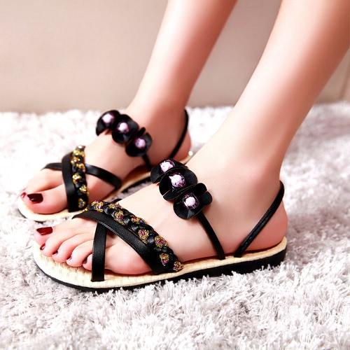 Mode Frauen Flat Sandals Blume Friesen Kreuz gewebten Riemen flache Schuhe