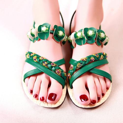 Las mujeres de moda plano Sandalias flor abalorios zapatos planos Cruz correa tejida