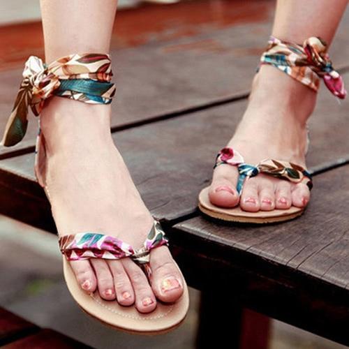 Neue Sommer Frauen flache Sandalen Splice Blatt drucken Bow-Knot Flip Flop Schuhe rot/gelb/blau
