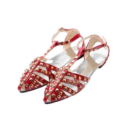 New Fashion Women Flat Sandals Solid Color Hollow Out Rivet Casual Summer Beach Pointed Shoes Black/Silver/Red