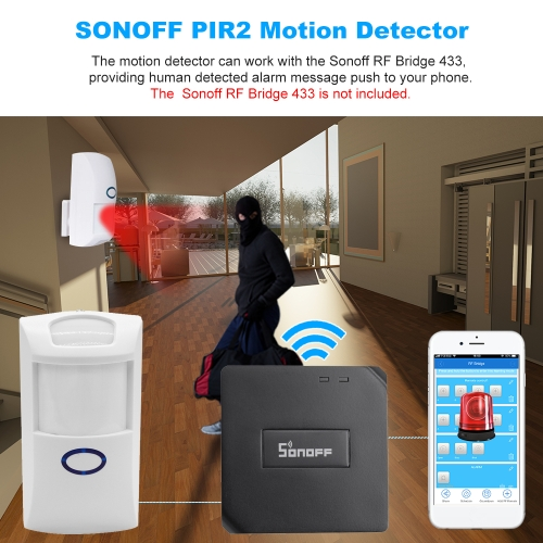 SONOFF PIR2 Wireless Dual Infrared Detector 433Mhz RF PIR Motion Sensor