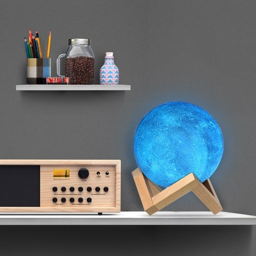 8cm/3.15in 3D Printing Star Moon Lamp USB Led Moon Shaped Table Night Light