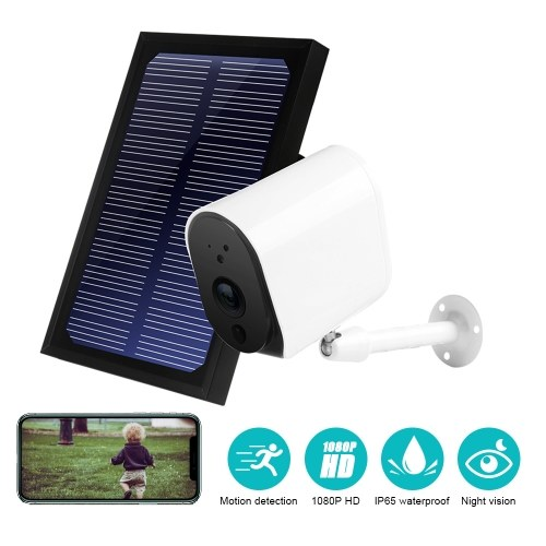 DC11 Solar 1080P Camera Wire Free Wifi Battery Charge Motion Detection Wireless Minitor Plug-in Free IP65 Night Vision Real Time Voice Intercom Motion Detection Alarm