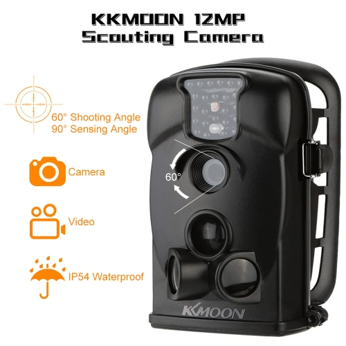 KKmoon 12MP Trail Camera Portable Game Cameras Wildlife Scouting Camera 940NM Hunting Camera HD Digital Infrared Video Recorder IR 2.4inch LED Screen Waterproof