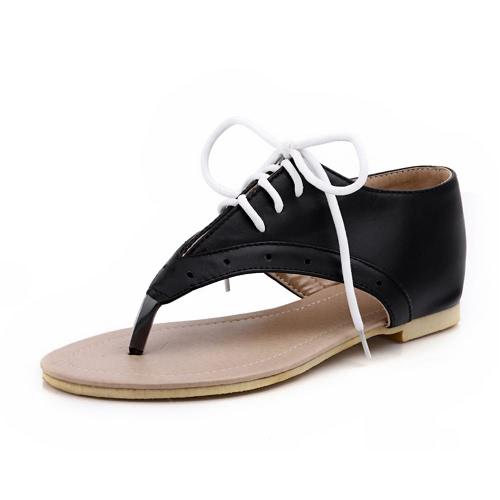 Nova verão mulheres plana sandálias Lace Up cortar fora Flip Flop sapatos preto/branco/rosa