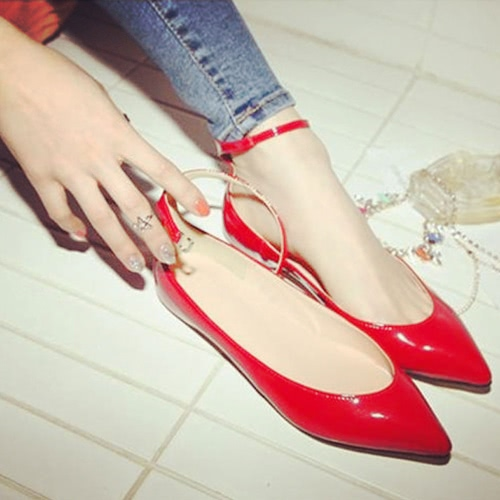 New Fashion Summer Women Flat Shoes Pointed Toe Pin Buckle Solid Color Flats Point Shoes