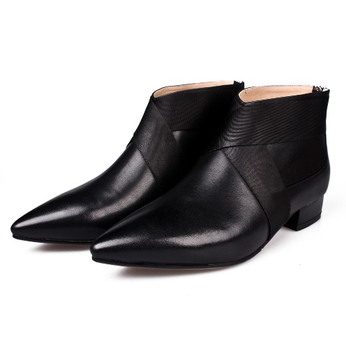 New Women Ankle Boots Genuine Leather Pointed Toe Low Heel Back Zipper Casual Shoes Black