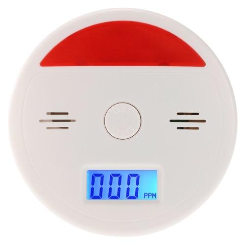 LCD CO Угарный датчик сигнализации Отравление дымовых газов тестер Звук и флэш-детектор Предупреждение