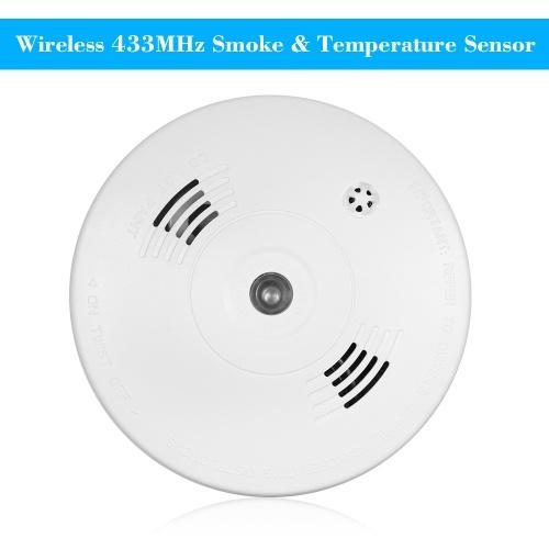 Sem Fio 433 MHz Detector de Incêndio Fotoelétrico Sensor De Temperatura Dentro de Alarme de Alerta De Alarme de Segurança Para Casa Cozinha / Loja / Hotel / Fábrica