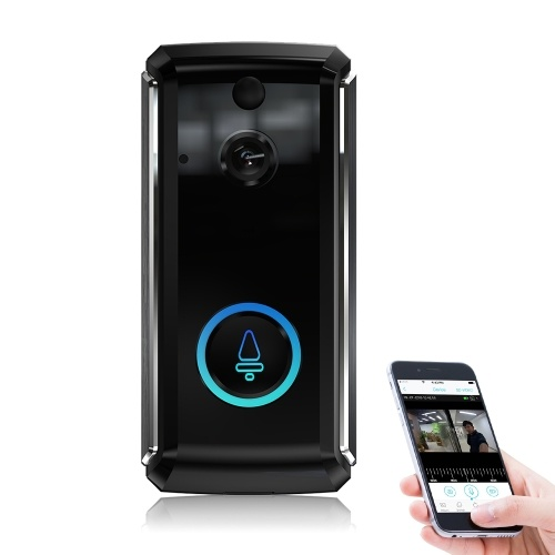 Wireless Video Doorbell Camera WIFI 1080P Doorbell Home Security Camera with Cloud Service IR Night Vision 2-Way Talk PIR Motion Detection APP Remote Control Support TF Card