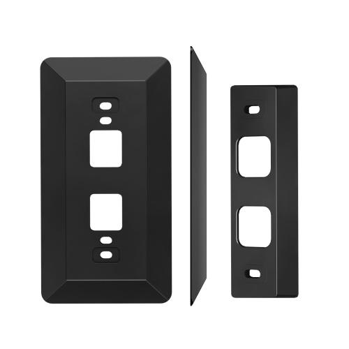 Plaque murale livrée avec une cale L35 ° / R35 ° compatible avec la sonnette vidéo à batterie Eufy, résolution 2K HD (batterie-alimentation), kit de cale de plaque murale de montage de réglage de la matière plastique, noir