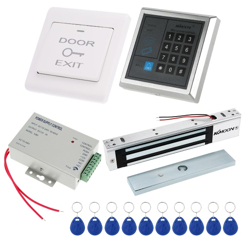 Door Entry Access Control System Kit Password Host Controller + 280KG/617lb Electric Magnetic Lock + Door Switch + DC12V Power Supply + 10pcs 125KHz RFID Cards
