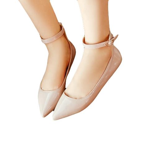 Nuevo moda verano zapatos planos del dedo del pie puntiagudo Pin hebilla Color sólido pisos punto zapatos de las mujeres