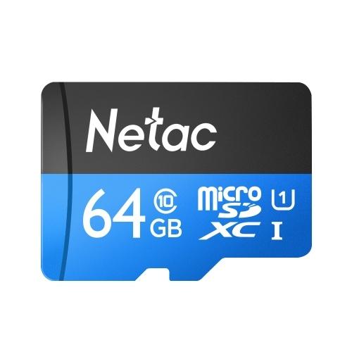 Netac P500 Klasse 10 64G Micro SDXC TF Flash-Speicherkarte Datenspeicherung Hohe Geschwindigkeit Bis zu 80 MB / s