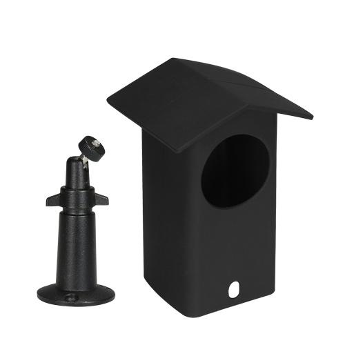 Real Resistente À Água Estojo Protetor + 360 Graus de Proteção de Metal Ajustável Suporte de Montagem na Parede para Wyze Cam Pan Adequado para Uso Interno e Externo, Preto, 1 pacote