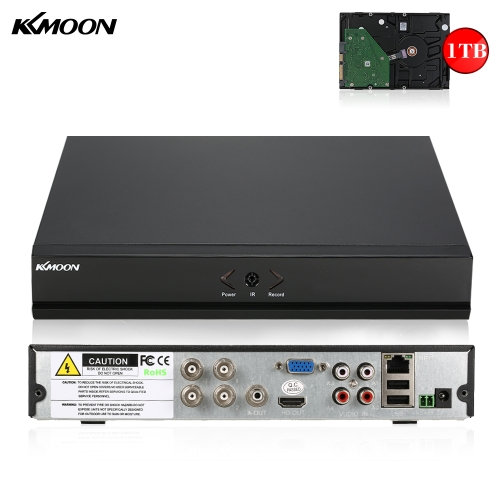 KKmoon 4CH Kanal Full 1080N / 720P AHD DVR HVR HD Digital Video Recorder + 1TB Festplatte