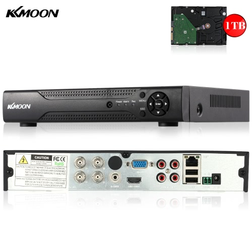 KKmoon 4CH Channel Full 1080N/720P AHD DVR HVR NVR HD P2P Cloud Network Onvif Digital Video Recorder + 1TB Hard Disk support Plug and Play Android/iOS APP Free CMS Browser View Motion Detection Email Alarm PTZ for HD 2000TVL CCTV Security Camera Surveillance System