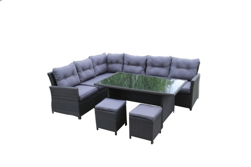 Salon de jardin Aluminium 8 places avec coussins - 2 coloris