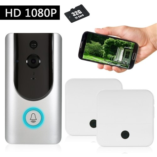 HD 1080P WiFi Smart Wireless Security Doorbell with 32G TF Card 2 Wireless Doorbell Chime