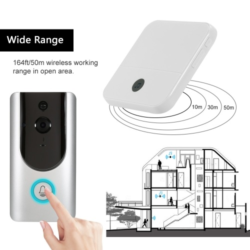 HD 1080P WiFi Smart Wireless Security Doorbell with 16G TF Card 1 Wireless Doorbell Chime
