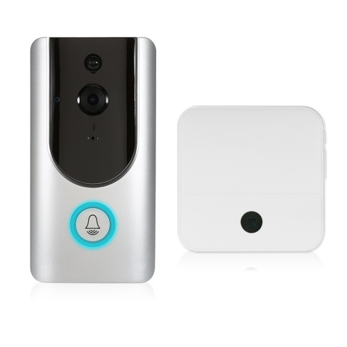 HD 1080P WiFi Smart Wireless Security Doorbell with 8G TF Card+2PCS 18650 Batteries+1*Wireless Doorbell Chime