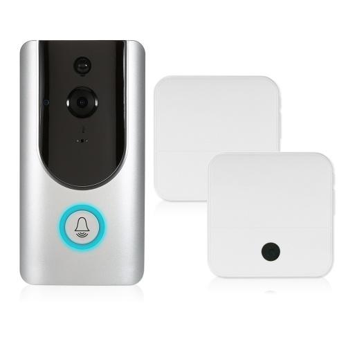 HD 1080P WiFi беспроводной беспроводной дверной звонок с 8G TF-картой + 2PCS 18650 Батареи + 2 * Беспроводной звонок из колокольчика фото