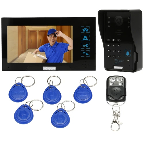 """KKmoon® 7"""" Wired Video Door Phone System Record/Snapshot Visual Intercom Doorbell with 1*800x480 Indoor Monitor + 1*1000TVL Outdoor Camera + 8G TF Card + 5*ID Card + 1*Remote Control support Touch Button ID Card/Code/Remote Unlock Infrared Night View Rainproof Lock Time Delay Adjustable Angles for Door Entry Access Control System"""