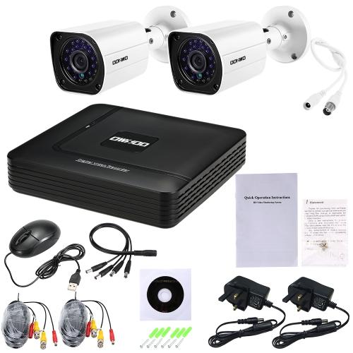 OWSOO 4CH 1080N DVR + 2pcs AHD 720P Kugel PAL System CCTV-Kamera