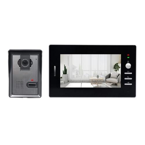 Kabelgebundenes Video-Intercom-System 7-Zoll-Kabel-Türklingel-Innenmonitor mit IR-CUT-Regenschutz-Außenkamera