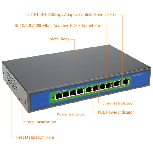 8-port 1000MBit IEEE802.3af POE Switch/Injector Power over Ethernet für IP Kamera VoIP Telefon AP-Geräte 1010POE-AF