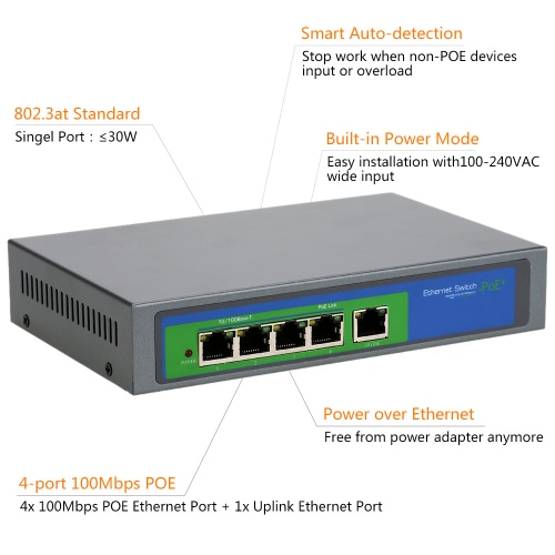 4 port 100 Mbit/s IEEE802.3at POE Switch/Injector macht über Ethernet für IP Kamera VoIP Telefon AP-Geräte-104POE-M-AT