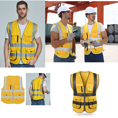 SFVest High Visibility Reflective Safety Vest Reflective Vest Multi Pockets Workwear Security Working Clothes Day Night Motorcycle Cycling Warning Safety Waistcoat фото
