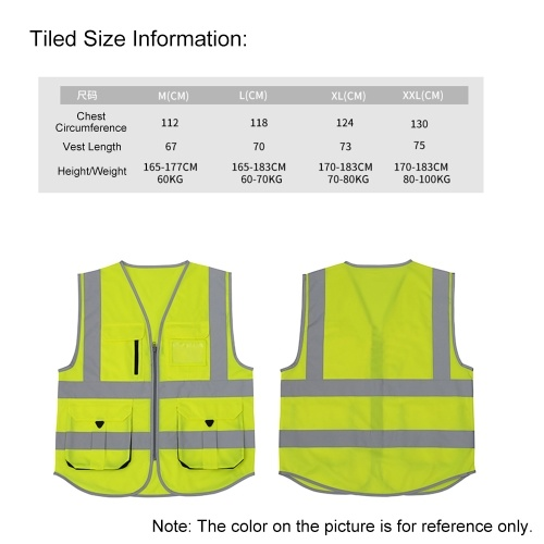 SFVest High Visibility Reflective Safety Vest Reflective Vest Multi Pockets Workwear Security Working Clothes Day Night Motorcycle Cycling Warning Safety Waistcoat